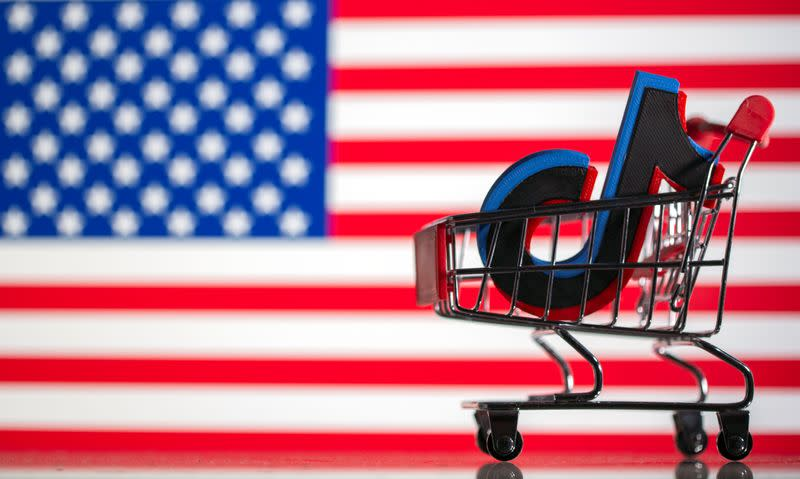 Shopping cart carrying a 3D printed Tik Tok logo is seen in front of displayed U.S. flag in this illustration