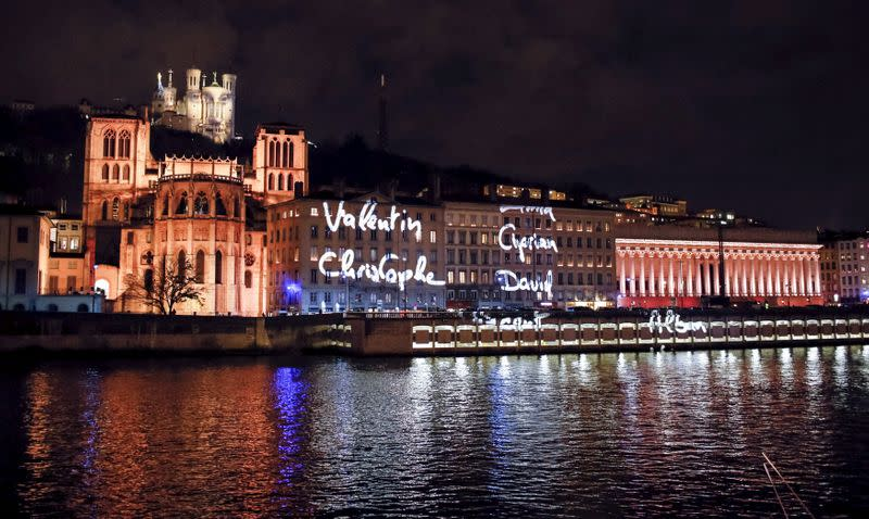 FILE PHOTO: A light installation is seen in 2015 on the banks of the Saone River in Lyon, France