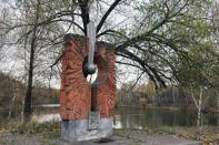 A historic monument is pictured in Star City near Moscow