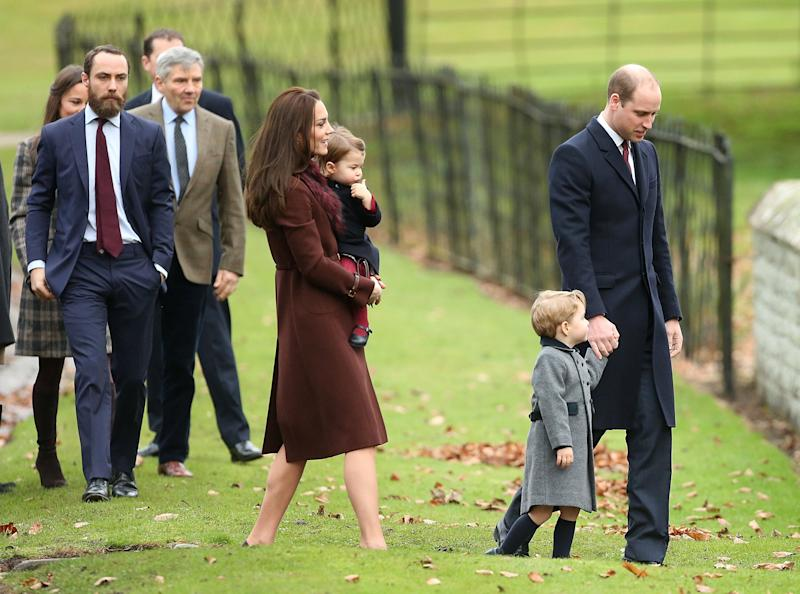 The Middleton family attends church with Prince William, Kate, and their children on Christmas Day on December 25, 2016. (Photo: Danny Martindale via Getty Images)