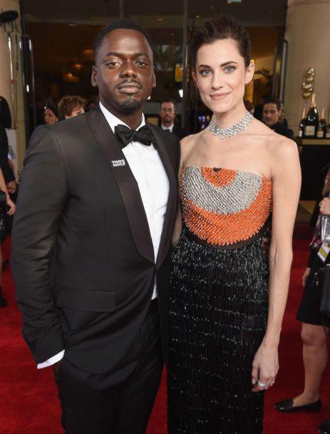 PHOTO: Actors Daniel Kaluuya and Allison Williams celebrate the 75th Annual Golden Globe Awards on Jan. 7, 2018 in Beverly Hills, Calif. (Michael Kovac/Getty Images)