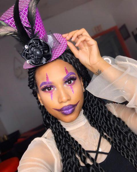 """<p>Party clowns are a thing, right? Well, if they weren't already, they are now, because this glitter purple clown makeup is exactly that. <strong>The only thing you need for this look? Yep, <a href=""""https://go.redirectingat.com?id=74968X1596630&url=https%3A%2F%2Fwww.ulta.com%2Fviolets-eyeshadow-palette%3FproductId%3Dpimprod2014058&sref=https%3A%2F%2Fwww.cosmopolitan.com%2Fstyle-beauty%2Fbeauty%2Fg33247158%2Fcute-clown-halloween-makeup-tutorials%2F"""" rel=""""nofollow noopener"""" target=""""_blank"""" data-ylk=""""slk:purple glitter"""" class=""""link rapid-noclick-resp"""">purple glitter</a>. </strong>Use it to create the diamond shapes around your eyes, your exaggerated lips, and even your brows.</p><p><a href=""""https://www.instagram.com/p/B4Se2x9pRNc/?utm_source=ig_embed&utm_campaign=loading"""" rel=""""nofollow noopener"""" target=""""_blank"""" data-ylk=""""slk:See the original post on Instagram"""" class=""""link rapid-noclick-resp"""">See the original post on Instagram</a></p>"""