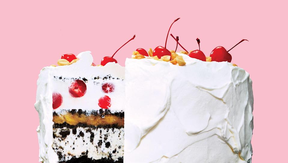 """Before you even start making this showstopper of a summer dessert, clear some space in your freezer. For this ice cream cake recipe, you'll need a spot big enough to park a springform pan that's filled to the brim. <a href=""""https://www.bonappetit.com/recipe/banana-split-ice-cream-cake?mbid=synd_yahoo_rss"""" rel=""""nofollow noopener"""" target=""""_blank"""" data-ylk=""""slk:See recipe."""" class=""""link rapid-noclick-resp"""">See recipe.</a>"""