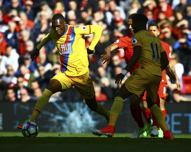 Crystal Palace's Christian Benteke controls the ball during their English Premier League match against Liverpool, at Anfield in Liverpool, on April 23, 2017