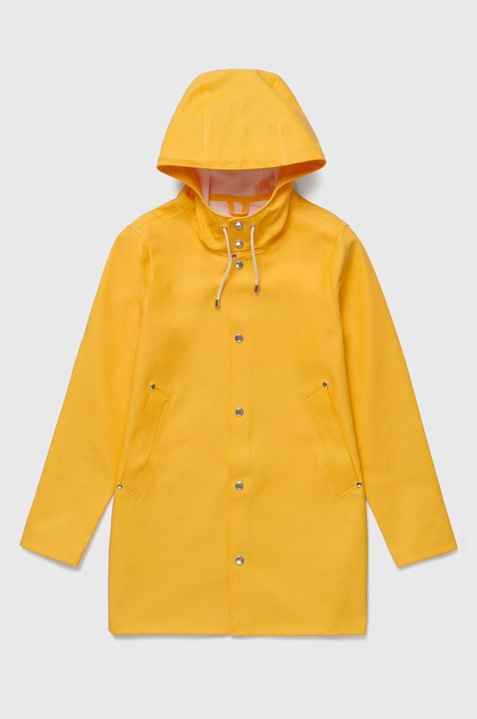 """<p><strong>Stutterheim</strong></p><p>stutterheim.com</p><p><strong>$295.00</strong></p><p><a href=""""https://go.redirectingat.com?id=74968X1596630&url=https%3A%2F%2Fstutterheim.com%2Fusa%2Fman%2Fraincoats%2Fstockholm-yellow&sref=https%3A%2F%2Fwww.townandcountrymag.com%2Fstyle%2Ffashion-trends%2Fg32622659%2Fcool-jackets-for-men%2F"""" rel=""""nofollow noopener"""" target=""""_blank"""" data-ylk=""""slk:Shop Now"""" class=""""link rapid-noclick-resp"""">Shop Now</a></p><p>This Swedish raincoat is the ultimate marriage of form and function. Stutterheim coats are made by hand using rubberized cotton, snap closures and cotton drawstrings, and come in a wide variety of striking colors and patterns. Never before has a raincoat worked so hard to keep you dry, yet looked so good doing it.</p>"""