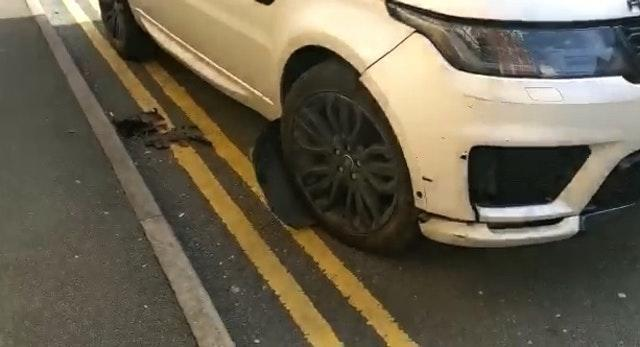 Screengrab taken from PA video dated March 29 of damage to a Range Rover driven carelessly by Aston Villa Captain Jack Grealish in Dickens Heath, near Solihull, West Midlands