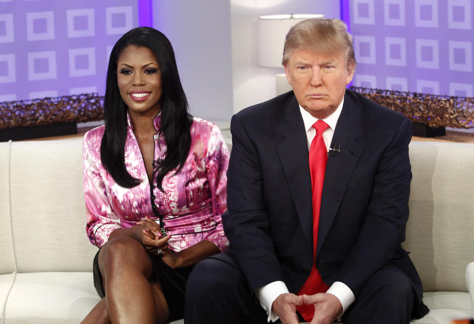 Former <i>Apprentice</i> and White House colleagues Omarosa Manigault Newman and Donald Trump in 2010. (Photo: Peter Kramer/NBC/NBCU Photo Bank via Getty Images)