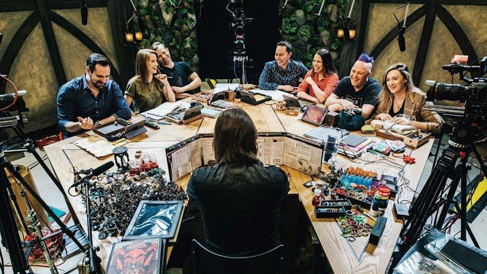 Critical Role cast on set filming a Dungeon & Dragons campaign