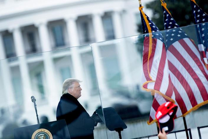 Then President Donald Trump speaks to supporters from The Ellipse near the White House on Jan. 6, 2021.