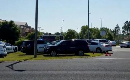 Police is seen near Noblesville West Middle School in Noblesville, Indiana, U.S., May 25, 2018 in this still image obtained from social media video. COURTESY CHRISTOPHER REILY/via REUTERS