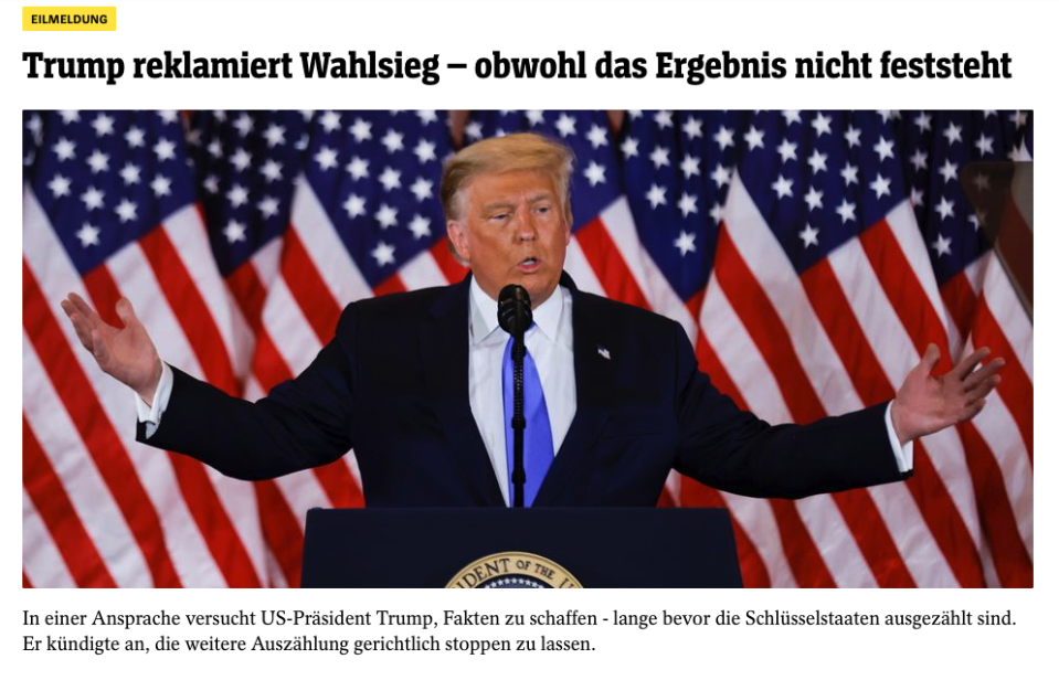 'Trump claims victory - even though the result is not certain' says Der Spiegel's website on 4 November. Credit: Der Spiegel.