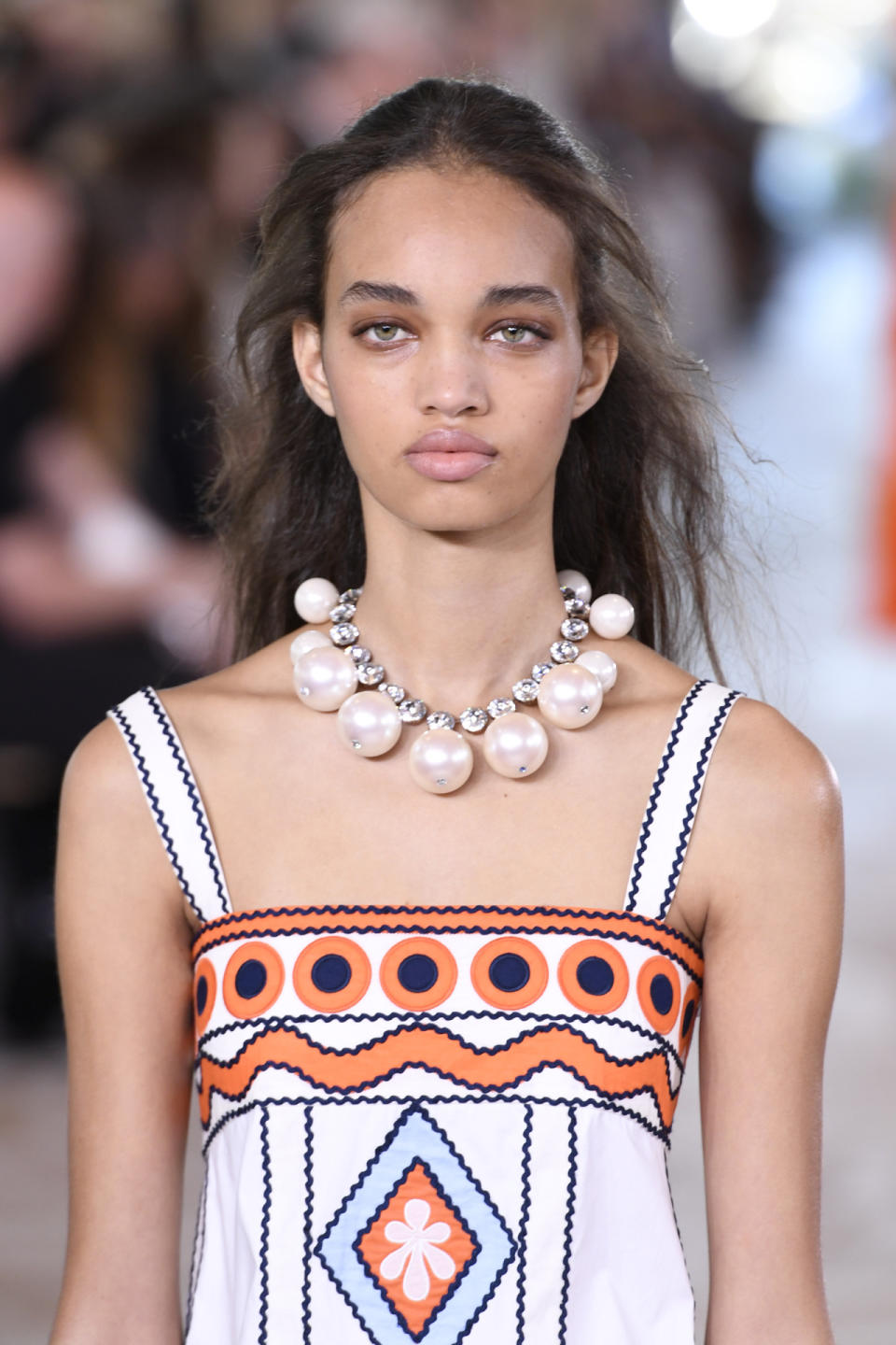 A model on the Tory Burch runway. (Photo: Getty Images) height=