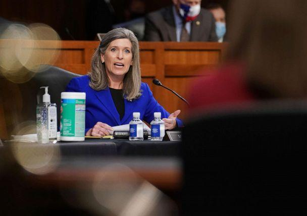 PHOTO: Sen. Joni Ernst speak during a confirmation hearing for Supreme Court nominee Amy Coney Barrett before the Senate Judiciary Committee, Oct. 13, 2020, on Capitol Hill in Washington. (Sarah Silbiger/AP)