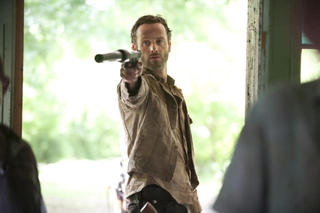 "Rick Grimes (Andrew Lincoln) in ""Seed,"" the Season Three premiere episode of ""The Walking Dead"" on AMC."