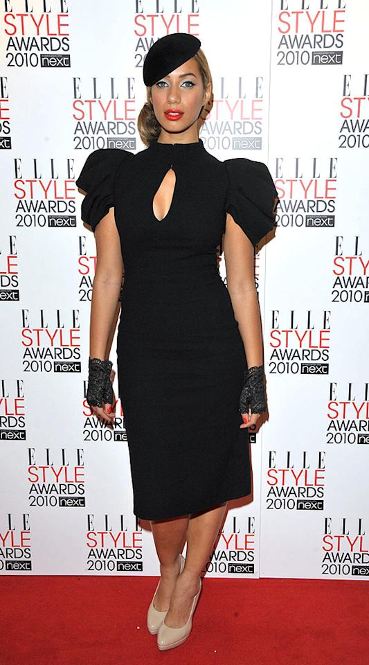 """British songstress Leona Lewis paid homage to the late Alexander McQueen by wearing one of his designs, which she accessorized with a hat, fingerless lace gloves, and patent leather pumps. Jon Furniss/<a href=""""http://www.wireimage.com"""" target=""""new"""">WireImage.com</a> - February 22, 2010"""