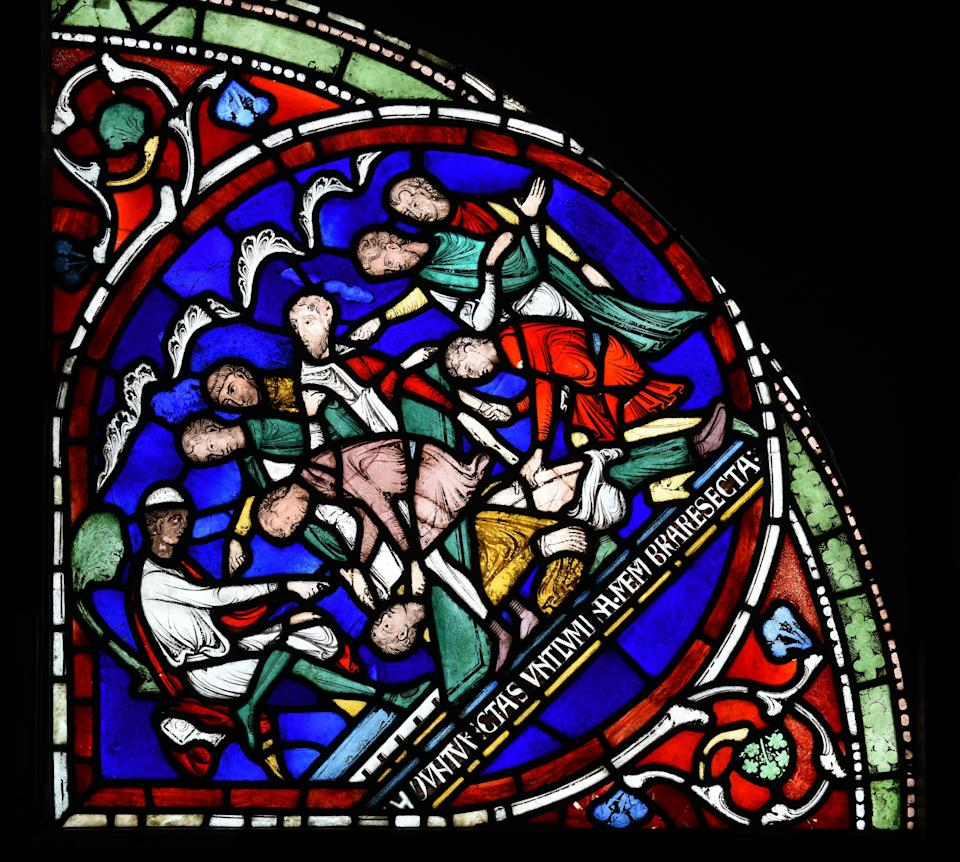 Detail of Canterbury Cathedral's Miracle window showing the castration of Eilward of WestoningThe Chapter, Canterbury Cathedral