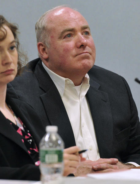 Michael Skakel looks on during his habeas corpus trial at State Superior Court in Vernon, Conn., on Monday, April 22, 2013. Skakel's attorneys are challenging his 2002 murder conviction. (AP Photo/The Stamford Advocate,Jason Rearick, Pool)