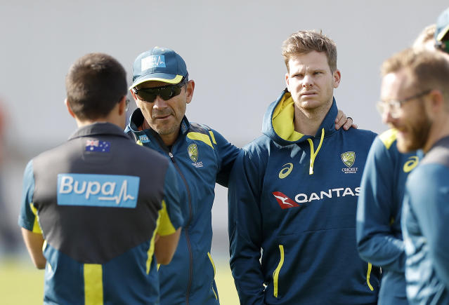 Australia coach Langer consoles Smith as the team underwent preparations for the third Test (Photo by Ryan Pierse/Getty Images)