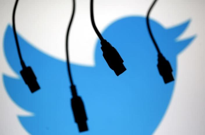 FILE PHOTO: Electronic cables are silhouetted next to the logo of Twitter in this illustration photo in Sarajevo