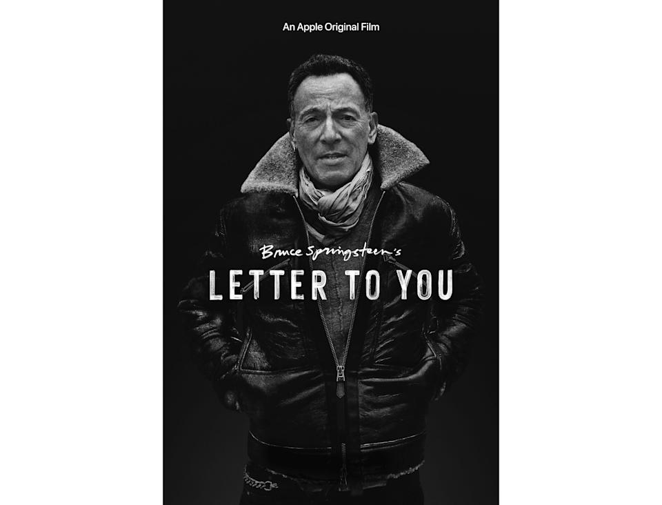"This image released by Apple shows key art for the documentary ""Bruce Springsteen's Letter To You,"" premiering on Oct. 23, the same day the album ""Letter To You"" releases. (Apple via AP)"