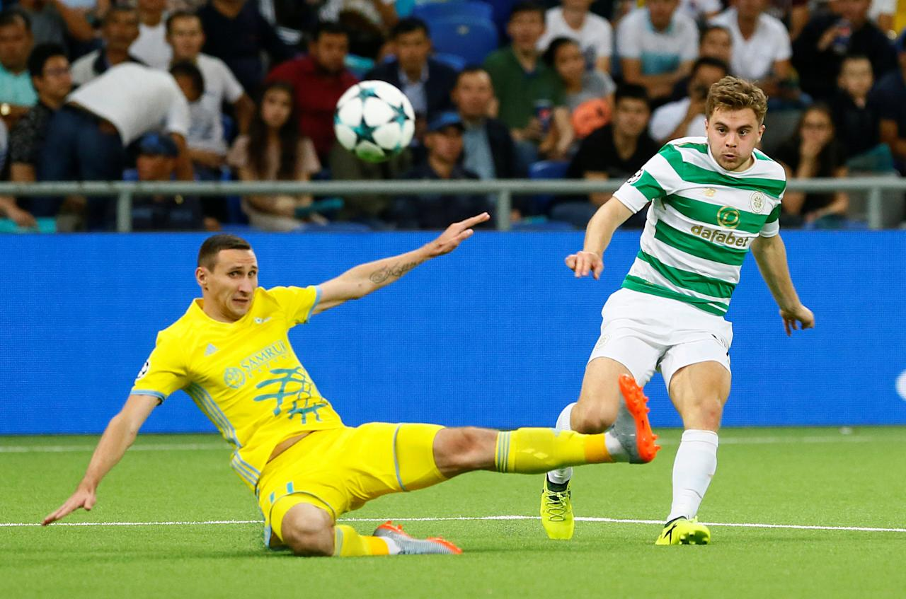 Soccer Football - Champions League Playoffs - FC Astana v Celtic - Astana, Kazakhstan - August 22, 2017     Celtic's James Forrest in action with FC Astana's Dmitri Shomko    REUTERS/Shamil Zhumatov