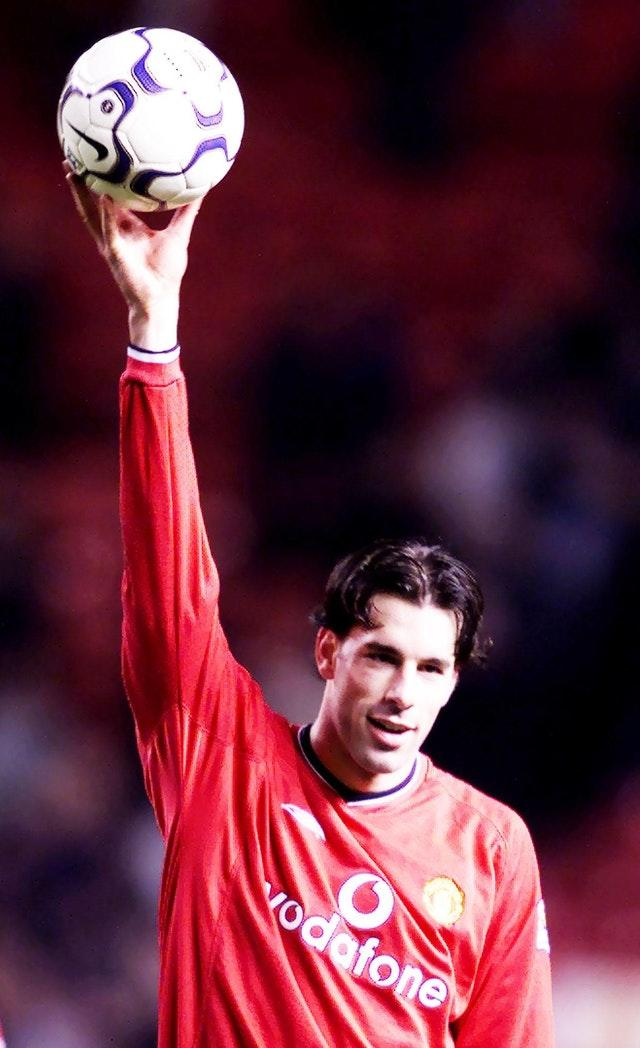 Ruud Van Nistelrooy with the match ball after his hat-trick against Southampton in December 2001