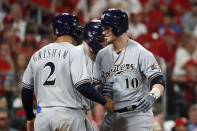 Milwaukee Brewers' Yasmani Grandal (10) is congratulated by teammate Trent Grisham (2) after hitting a two-run home run during the eighth inning of a baseball game against the St. Louis Cardinals, Saturday, Sept. 14, 2019, in St. Louis. (AP Photo/Jeff Roberson)