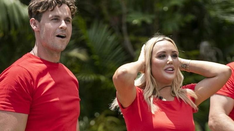 Charlotte and Ryan in red T-shirts on I'm A Celebrity Get Me Out Of Here