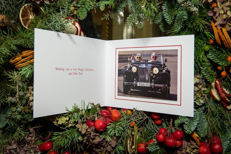 The Christmas card of Prince Charles and Camilla, Duchess of Cornwall is displayed at Clarence House in London on Dec. 20, 2019. (Photo: WPA Pool via Getty Images)