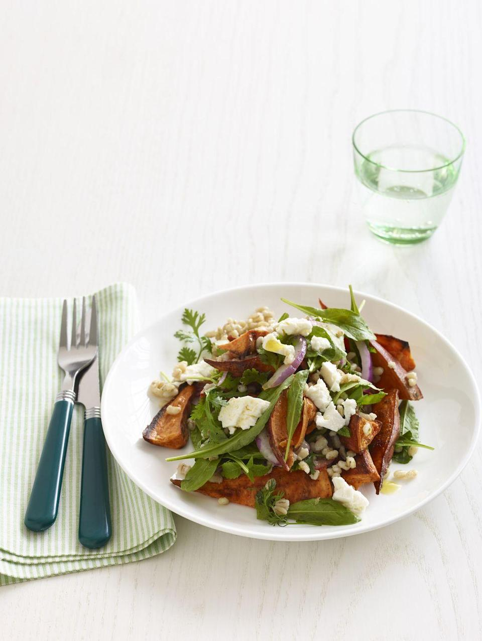 """<p>Dress a simple arugula salad with fresh and tasty ingredients like barley, sweet potatoes, and feta for a light weeknight dinner. </p><p><strong><a href=""""https://www.countryliving.com/food-drinks/recipes/a34692/roasted-sweet-potato-salad-barley-arugula-recipe-wdy1214/"""" rel=""""nofollow noopener"""" target=""""_blank"""" data-ylk=""""slk:Get the recipe"""" class=""""link rapid-noclick-resp"""">Get the recipe</a>. </strong></p>"""