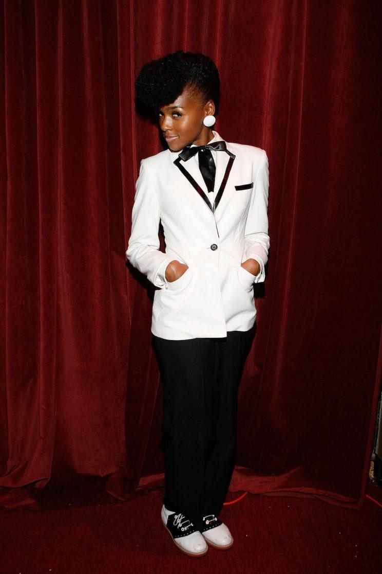 Janelle Monae poses backstage at Sugarhill Nightclub in Atlanta, GA. (Photo by Benjamin Rose/WireImage)