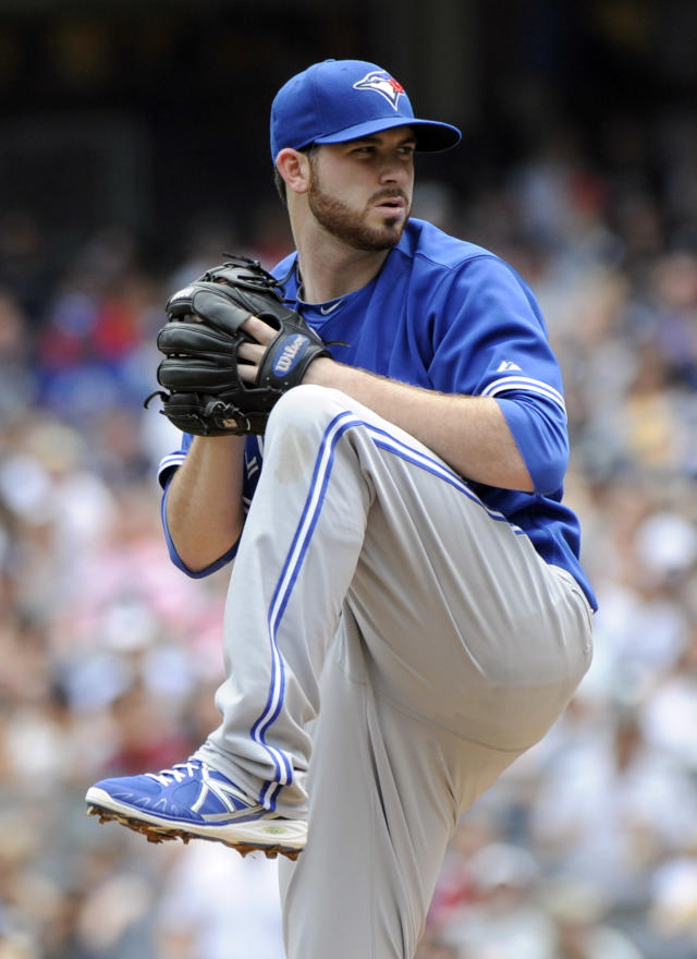 Toronto Blue Jays pitcher Drew Hutchison delivers the ball to the New York Yankees during the first inning of a baseball game on Saturday, July 26, 2014, at Yankee Stadium in New York. (AP Photo/Bill Kostroun)