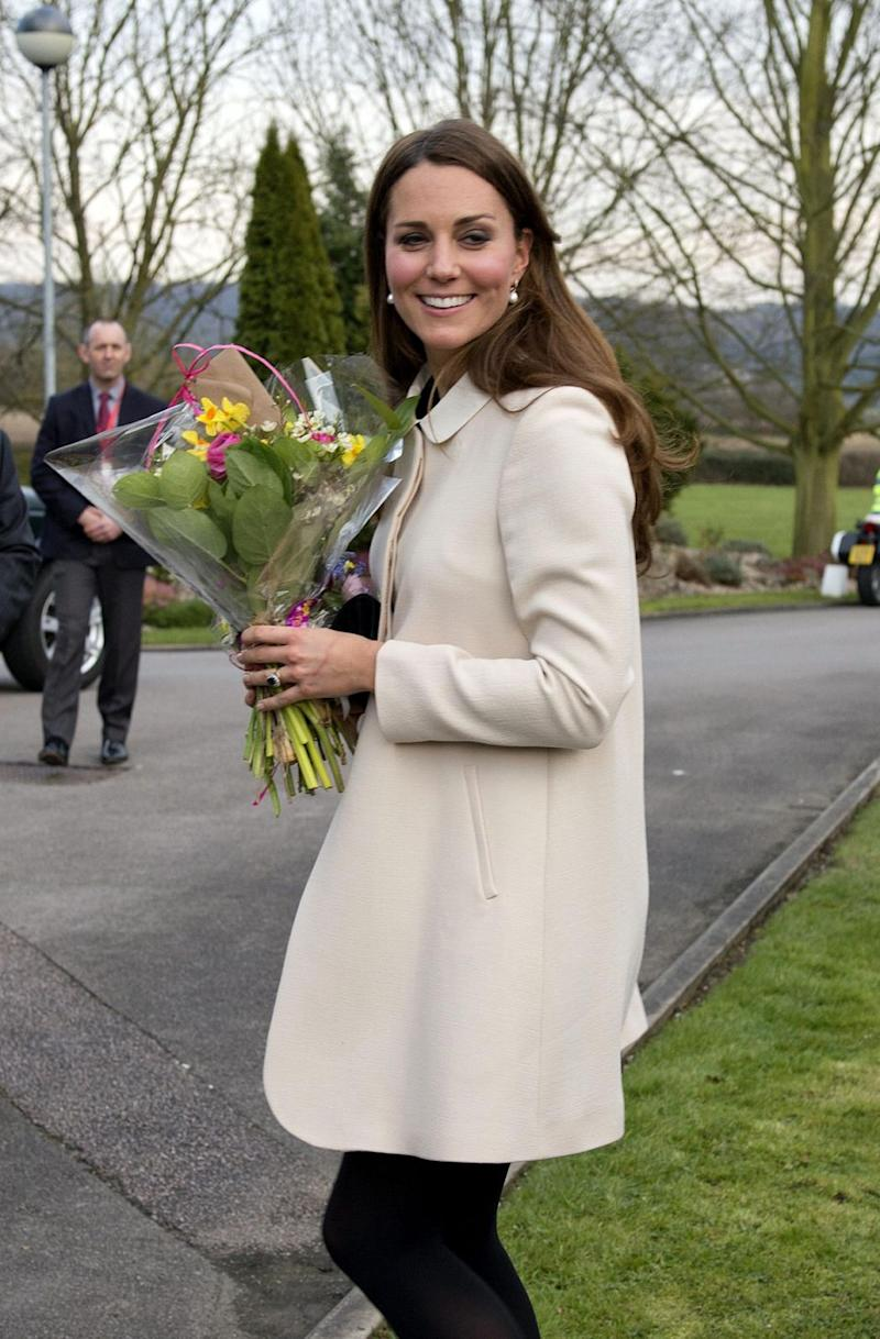 The Duchess was pictured wearing the exact same coat in 2013, when she was pregnant with Prince George. Photo: Getty Images