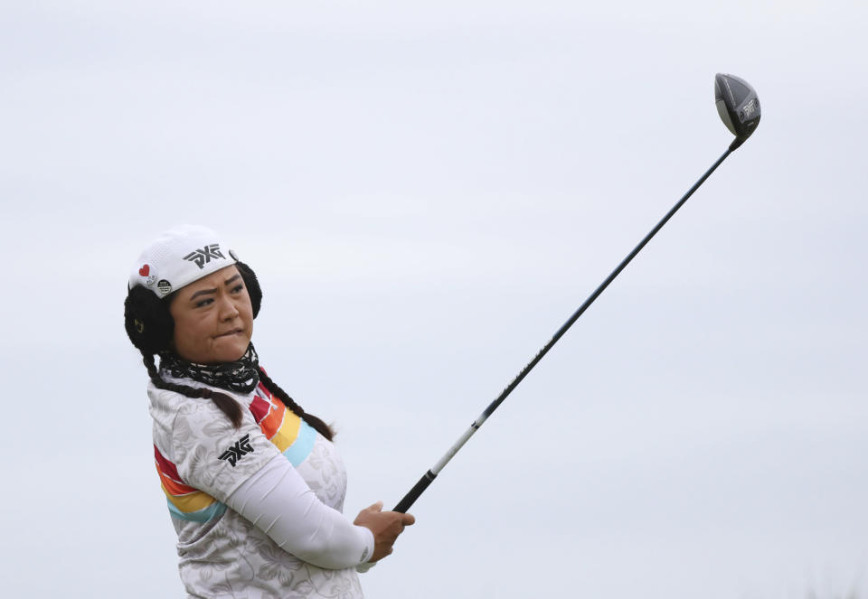 United States Christina Kim tees off the 6th hole during the second round of the Women's British Open golf championship, in Carnoustie, Scotland, Friday, Aug. 20, 2021. (AP Photo/Scott Heppell)