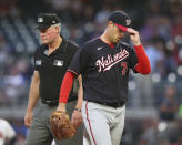Washington Nationals starting pitcher Sean Nolin is ejected after hitting Atlanta Braves' Freddie Freeman with a pitch during the first inning of a baseball game Wednesday, Sept 8, 2021, in Atlanta. (Curtis Compton/Atlanta Journal-Constitution via AP)