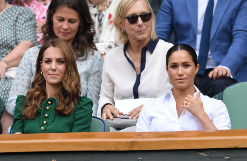 LONDON, ENGLAND - JULY 13: Catherine, Duchess of Cambridge and Meghan, Duchess of Sussex attend the Women's Singles Final of the Wimbledon Tennis Championships at All England Lawn Tennis and Croquet Club on July 13, 2019 in London, England. (Photo by Karwai Tang/Getty Images)