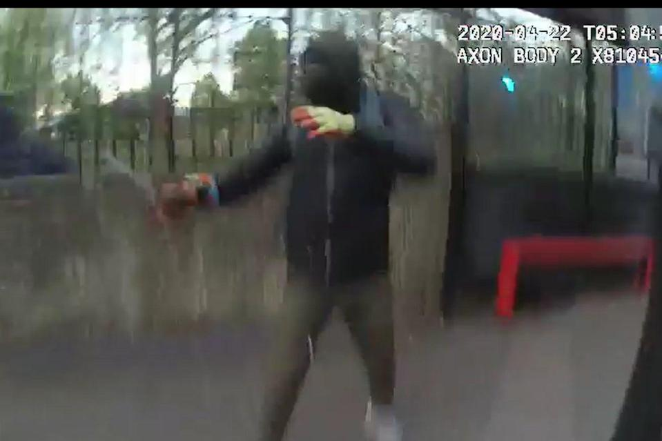 Evans Innocent on the day of his arrest, armed with a knife (MPS)