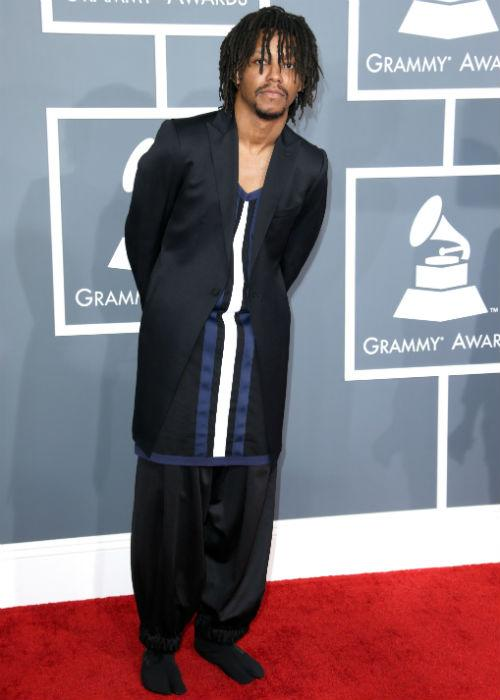 <b>Lupe Fiasco:</b> We're not really sure what rapper Lupe Fiasco was thinking when he attended the 55th Annual Grammy Awards at STAPLES Center on February 10, 2013 in Los Angeles. His outfit clearly speaks for itself, but more importantly, are those socks we see on the red carpet?
