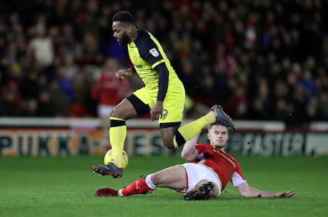 "Soccer Football - Championship - Barnsley vs Burton Albion - Oakwell, Barnsley, Britain - February 20, 2018 Burton Albion's Darren Bent in action with Barnsley's Liam Lindsay Action Images/John Clifton EDITORIAL USE ONLY. No use with unauthorized audio, video, data, fixture lists, club/league logos or ""live"" services. Online in-match use limited to 75 images, no video emulation. No use in betting, games or single club/league/player publications. Please contact your account representative for further details."