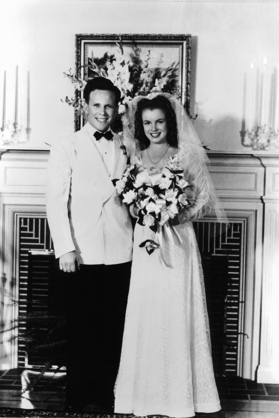 <p>She married her 21-year-old neighbor James Dougherty at 16 years old to avoid the possibility of her going back to an orphanage. </p>