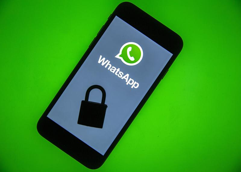 ANKARA, TURKEY - DECEMBER 10: WhatsApp logo is seen displayed on a smart phone screen with a padlock on it, in this illustration photo taken in Ankara, Turkey on December 10, 2019. (Photo by Ali Balikci/Anadolu Agency/Getty Images)