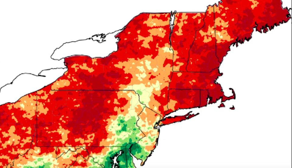 A Northeast Regional Climate Center map of precipitation from June to August 2020 resulting in extreme drought conditions.