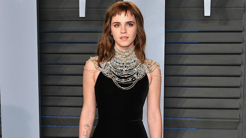 Emma Watson Rocks Times Up Tattoo On Her Arm At Vanity Fair Oscars Party Pics