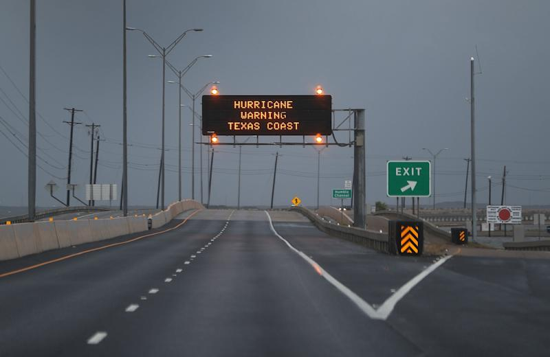 A road sign warns travelers of Hurricane Harvey on August 25, 2017 in Corpus Christi, Texas. (Joe Raedle via Getty Images)