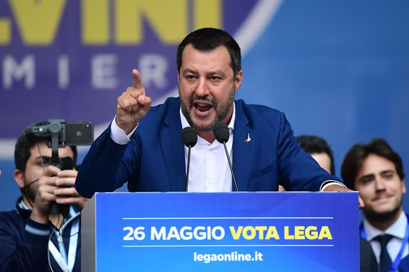 Italian Deputy Prime Minister and Interior Minister Matteo Salvinidelivers a speech during a rally of European nationalists ahead of European elections on May 18, 2019, in Milan. (Photo: Getty Images, Miguel Medina)