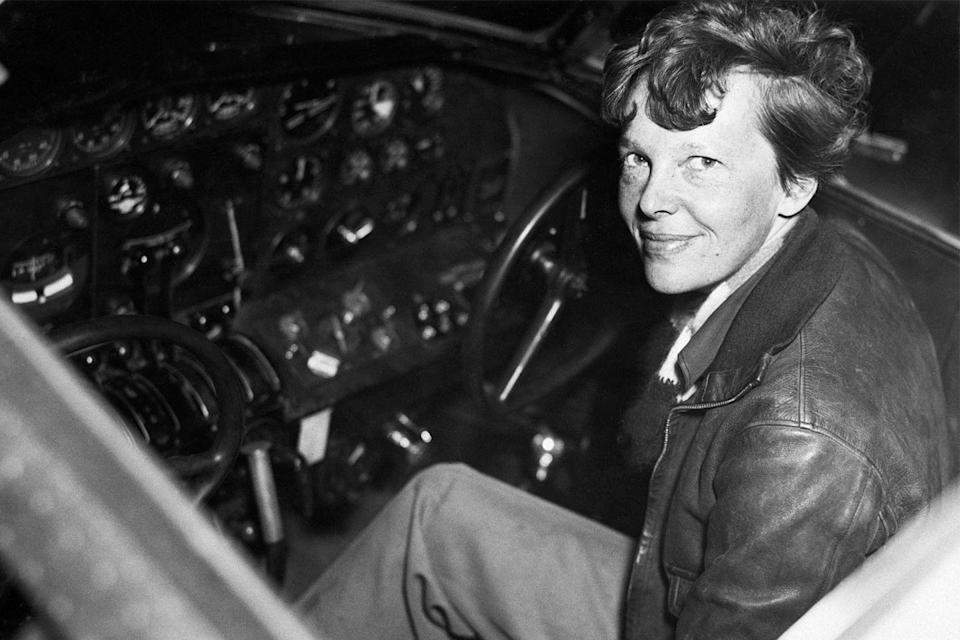 <p>Amelia Earhart sits in the cockpit of her Lockheed Electra right before embarking on her second attempt to circle the equator. Earhart and her co-pilot Fredrick Noonan would not return from this voyage.</p>
