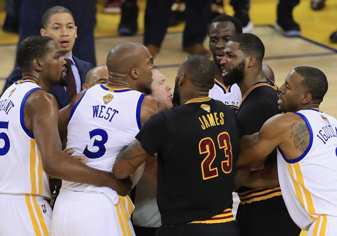 <p>David West #3 of the Golden State Warriors and Tristan Thompson #13 of the Cleveland Cavaliers get into an altercation after a play in Game 5 of the 2017 NBA Finals at ORACLE Arena on June 12, 2017 in Oakland, California. </p>