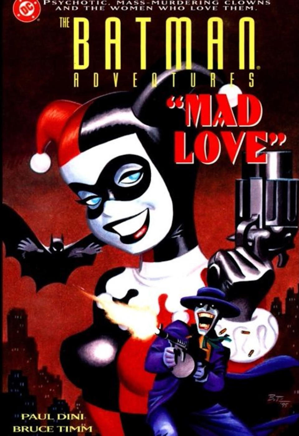 "<p>The one-shot comic by Dini and Timm established Harley's backstory: Psychiatrist Dr. Harleen Quinzel comes under the sway of the Joker. She'll do anything for her ""Puddin',"" including busting him out of Arkham Asylum. <i>(Image: DC Comics)</i></p>"