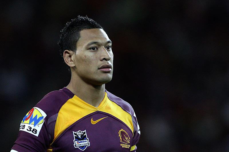 Israel Folau for the Brisbane Broncos in the NRL back in 2010. (Getty Images)