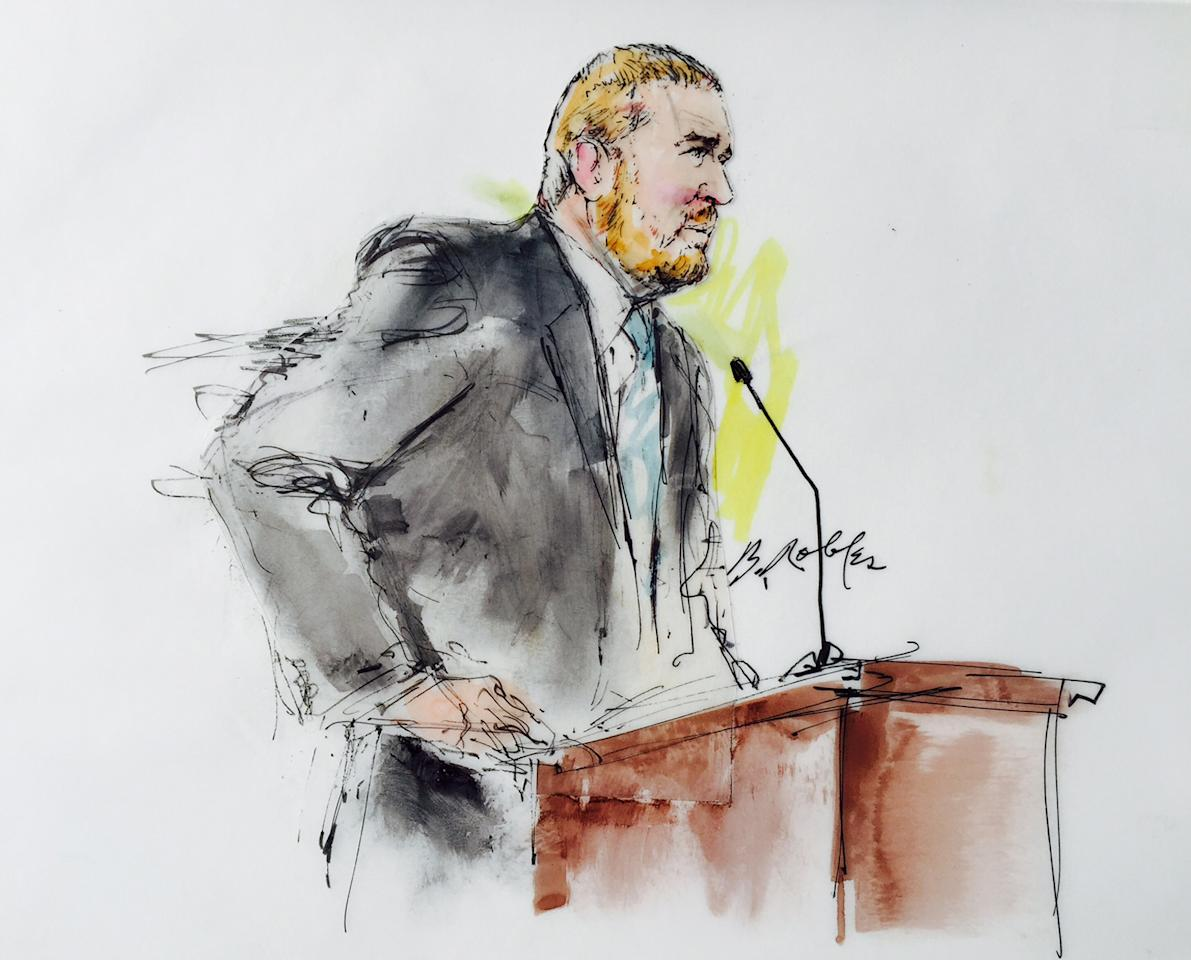 James Holmes' defence attorney Dan King speaks in Arapahoe County District Court in Denver, Colorado on February 11, 2015, in this courtroom sketch. Lawyers in the murder trial of Colorado theater gunman James Holmes are set to begin individual questioning of prospective jurors in the death-penalty case on Wednesday, a process scheduled to take four months to complete.  REUTERS/Bill Robles  (UNITED STATES - Tags: CRIME LAW) NO SALES. NO ARCHIVES. FOR EDITORIAL USE ONLY. NOT FOR SALE FOR MARKETING OR ADVERTISING CAMPAIGNS